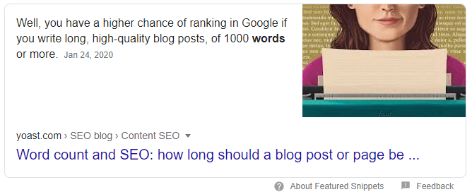 Yoast word count Featured snippet