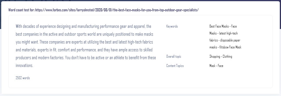 Text analysis of forbes article on the best face mask