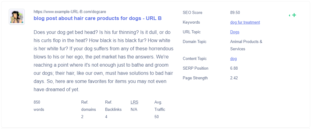 Text analysis of dog care page