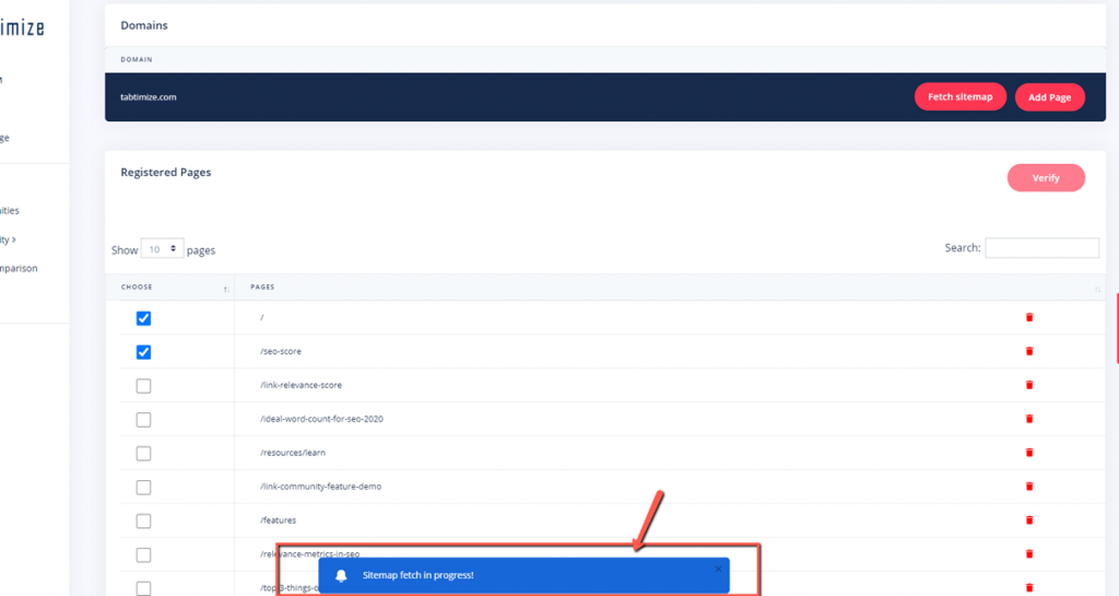 Update your sitemap on Tabtimize step 2 notification tells you sitemap fetch is in progress