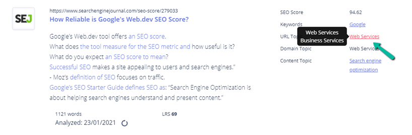 Search Engine Journal url topic