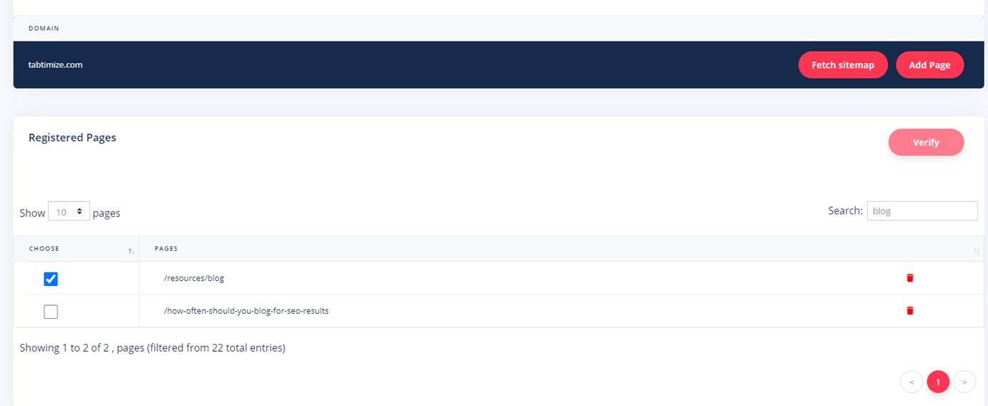 Register new pages on Tabtimize step 6 notification says adding approved