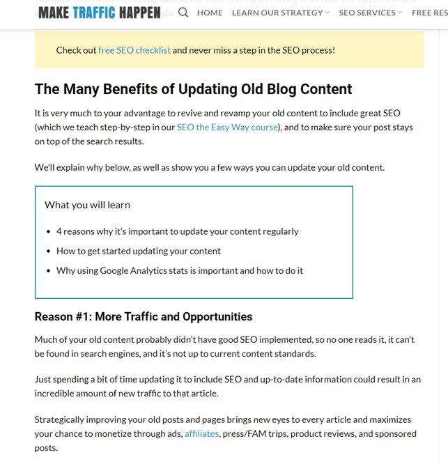 Screenshot of a blog post on updating old blog content