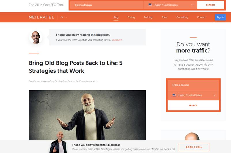 Screenshot of Neil Patels blog post on bringing old blog posts back to life.