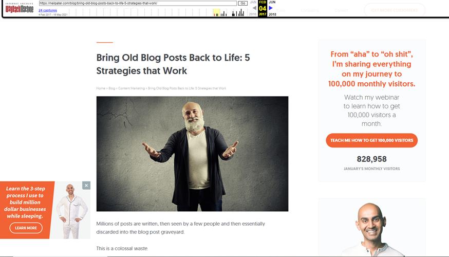 A old Screenshot of Neil Patels blog post on bringing old blog posts back to life.